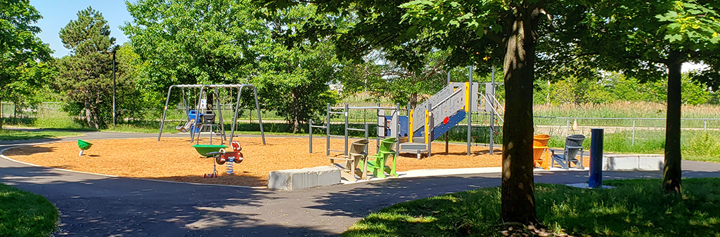 A photo of the new playground equipment installed in spring/summer 2021.