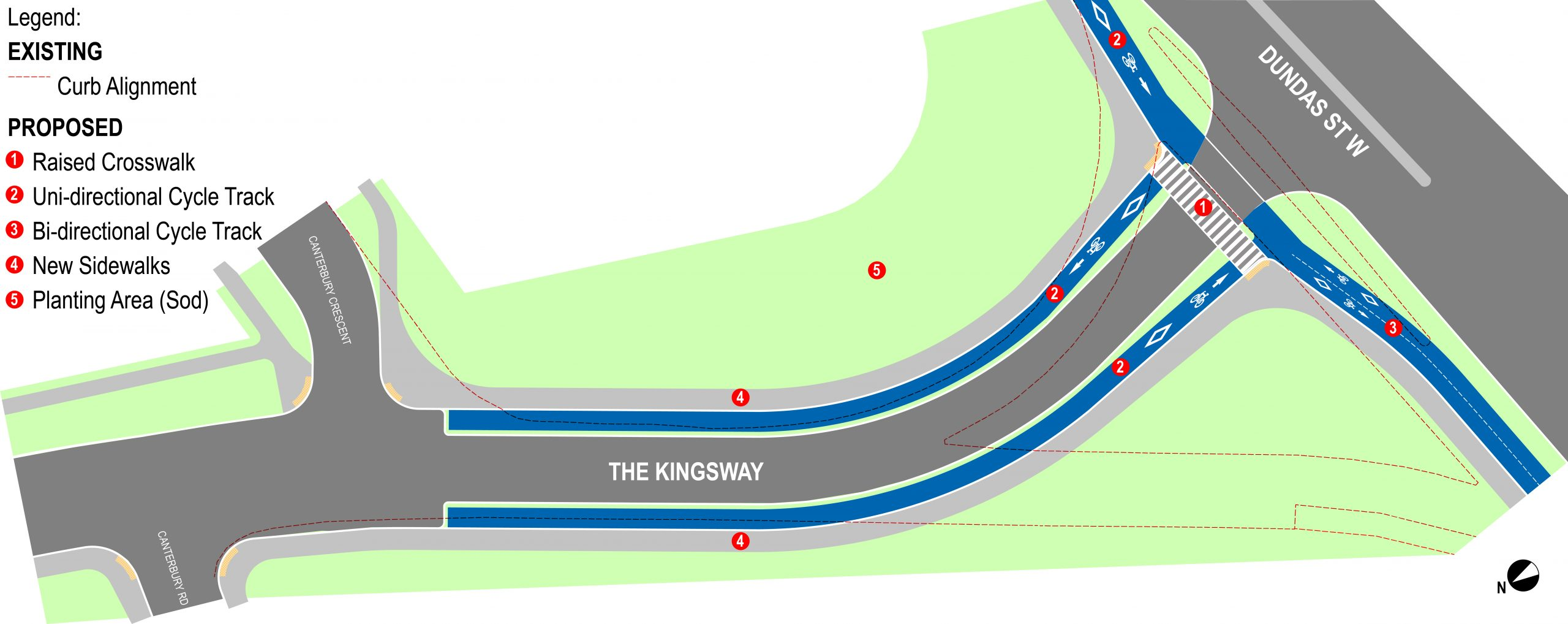 Drawing of the redesigned intersection of The Kingsway and Dundas showing the new 'T' alignment, new sidewalk and cycle tracks in relation to the existing turn channels.