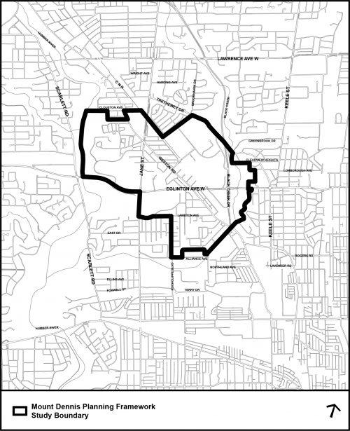 Mount Dennis planning framework study boundary map