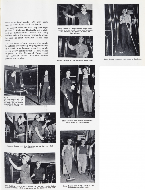 """Page two of photo essay titled """"Clean-up Gals"""". about women cleaning streetcars and buses"""