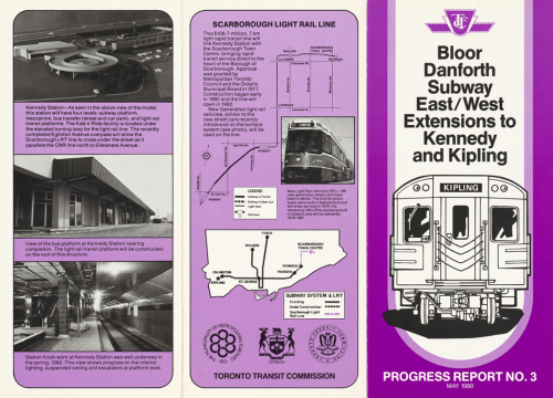 Pamphlet showing progress of extensions and route for SRT