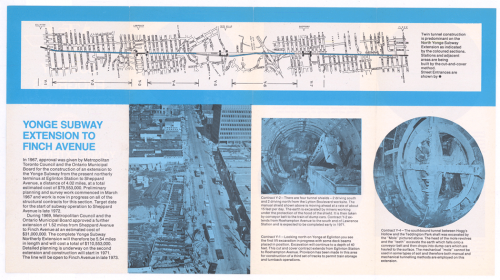 Pamphlet showing route alignment for Yonge Subway extension to Finch Station.