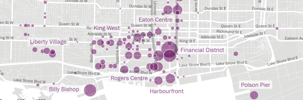 A map of downtown Toronto showing streets. Activity is represented with coloured circles of varying sizes.