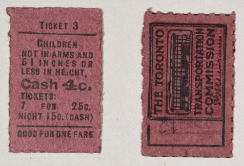 Child's ticket, Toronto Transportation Commission