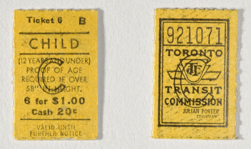 Front and back of a child's fare ticket, Toronto Transportation Commission