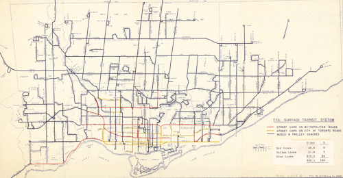 Map of Toronto showing different types of transit routes in different colours, for example, streetcars in red and buses in blue.