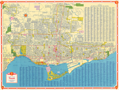 Map of Toronto with index listing every street.