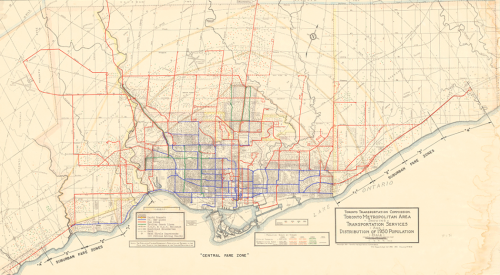 Map of Toronto showing transit routes as coloured lines and population as grey dots.