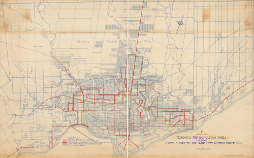 Map of Toronto showing routes as red lines, mostly downtown but also heading out to the midtown suburbs.