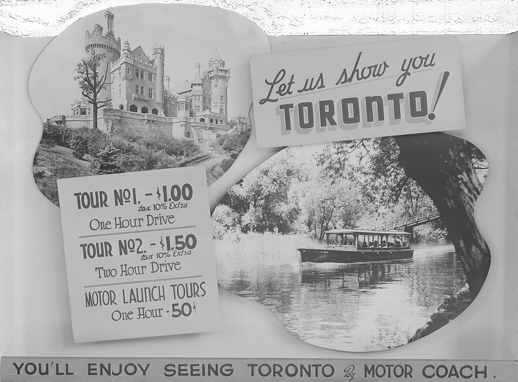 Poster advertising with motor launch and Casa Loma