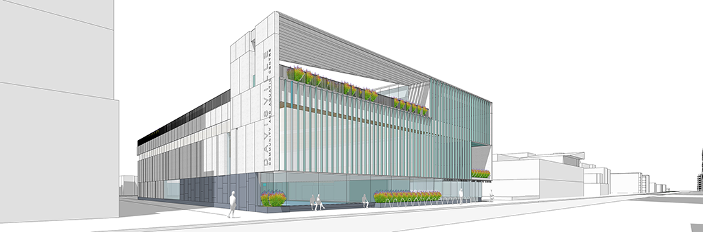 A rendering of the draft design for the new Davisville Community and Aquatic Centre showing the façade of a 3 storey building with an active roof lined with plans and a pergola, a façade of glass and vertical lines, and a main floor of glass to the street with seating, a bike rack, and plantings.