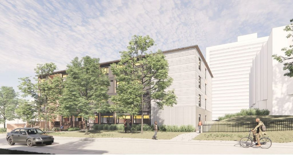Preliminary artist's rendering of the modular building – Looking South on Dunn Avenue. Final design subject to approval.