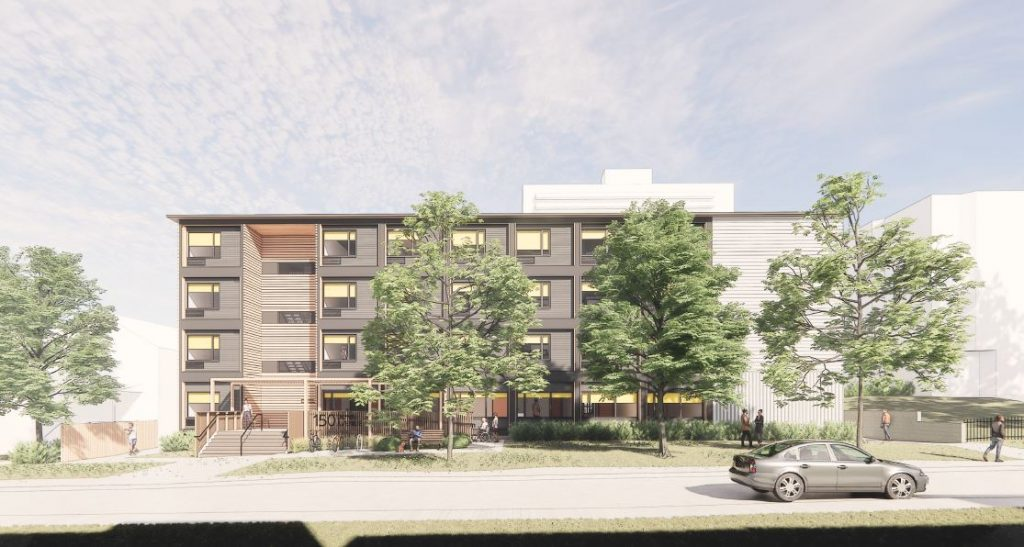 Preliminary artist's rendering of the modular building – Front Elevation on Dunn Avenue. Final design subject to approval.