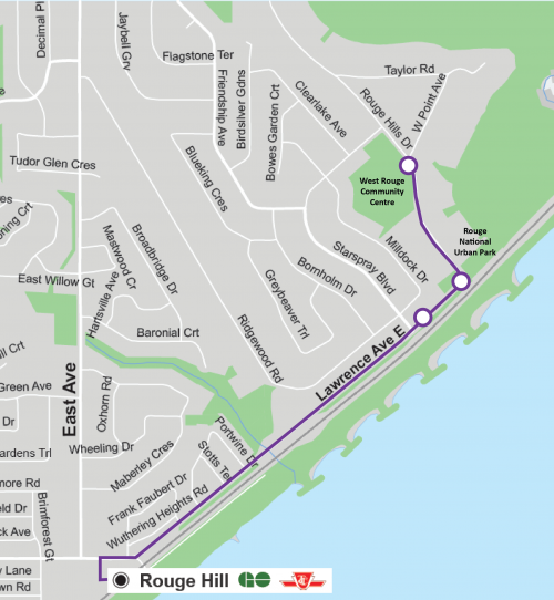 Map of Automated Shuttle routes on the weekend