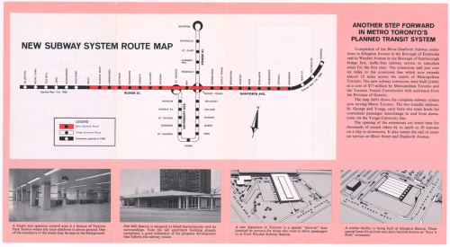 Pamphlet showing extensions for the Bloor Danforth Subway line with pictures.
