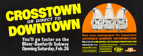 Advertisement for the opening of the Bloor-Danforth Subway.