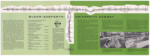 Pamphlet showing route of Bloor-Danforth-University Subway line with information on contracts let.