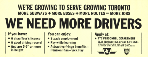 Advertisement stating what is required and how to apply to be a TTC driver.