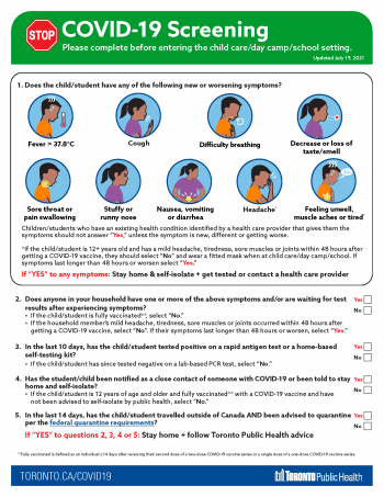 screenshot of screening poster for child care, day camps and schools