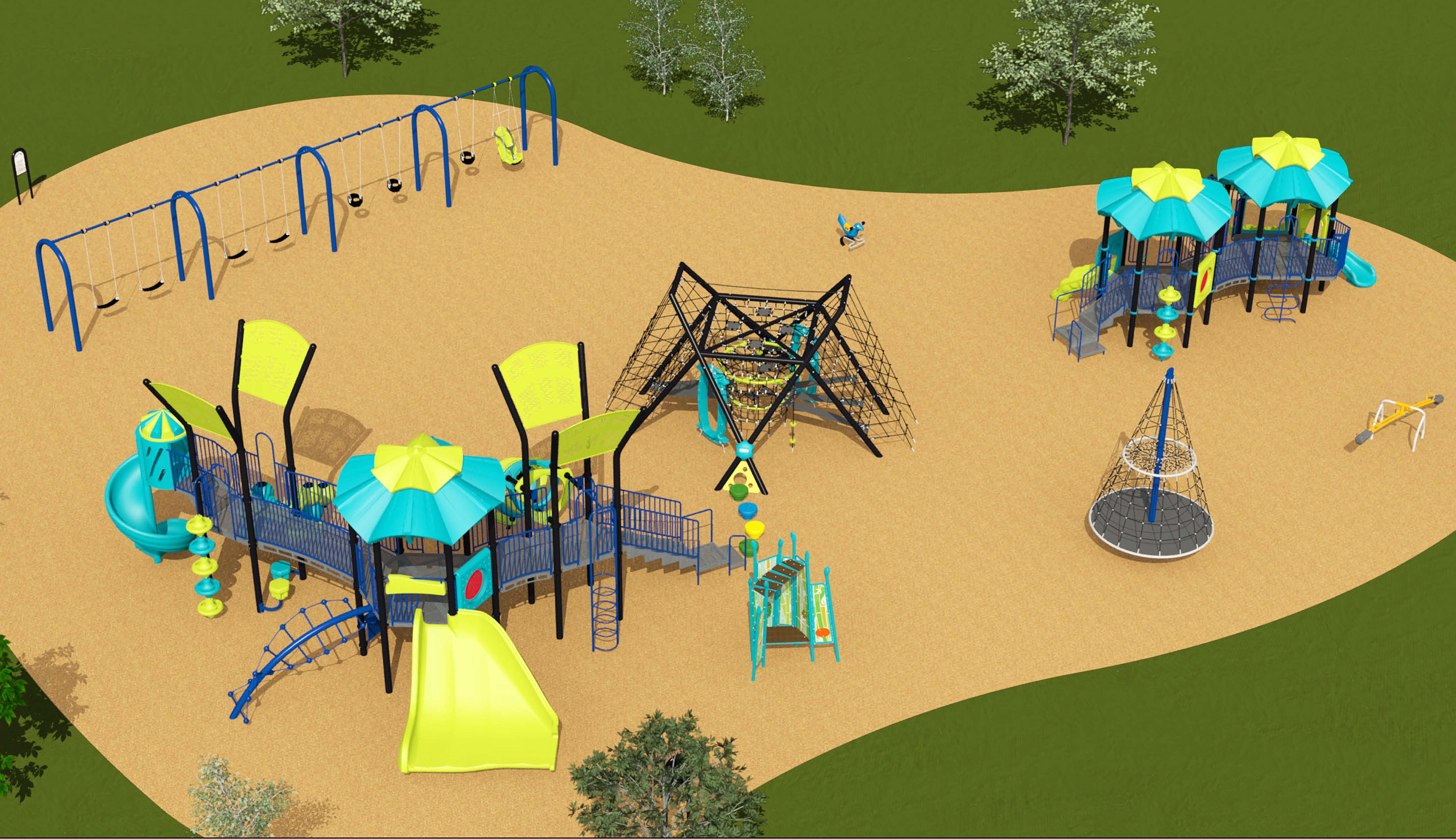 A rendering of the final playground design for Thomson Memorial Park which includes four belt swings, three toddler swings, and one accessible swing, one senior play structure for ages 5 to 12, one junior play structure for ages 1.5 to 5, one large rope climber, one spinning rope climber, four stepping stones and one standalone spring toy.