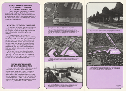 Pamphlet about reasons for extension to Kipling and Kennedy Stations with progress photographs