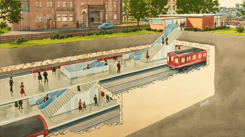 Illustrated cross section of subway station with red subway cars in tunnels passengers on platforms station entrance in background.