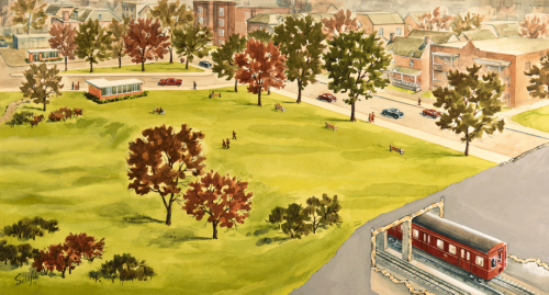 Illustrated red subway train underneath park with subway station in background trees and people in park.