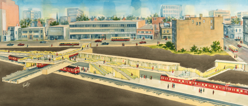 Illustrated cross section of subway station red subway cars on tracks people on subway station platforms PCC streetcars on road.