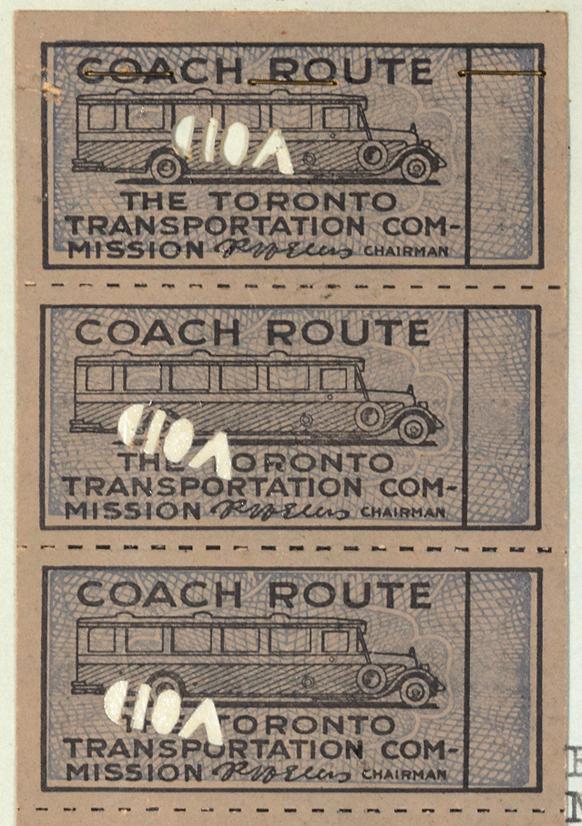 Three paper bus tickets, each with void stamp, TTC