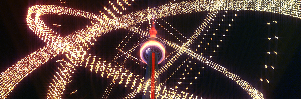 Image depicts scene from CN Tower animated virtual light show