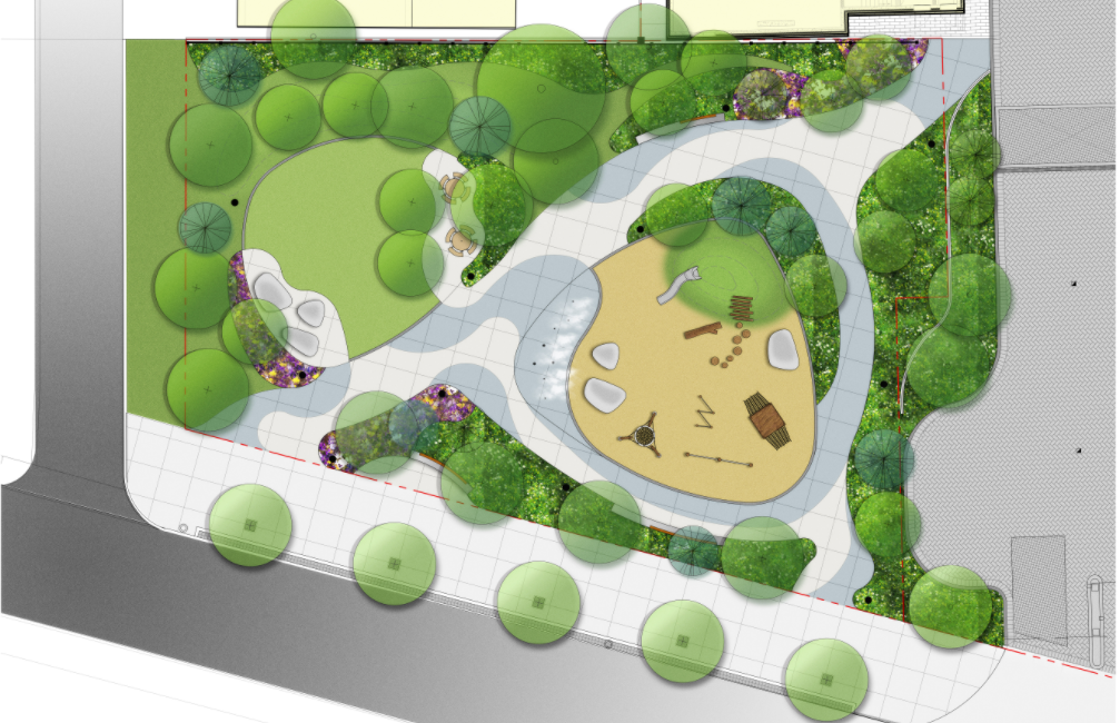 The final park concept design includes a green planted perimeter, with a diagonal pathway running northeast to southwest. There is a natural play area as well as fog misters on the east side of the path and an open lawn with different types of seating on the west side.