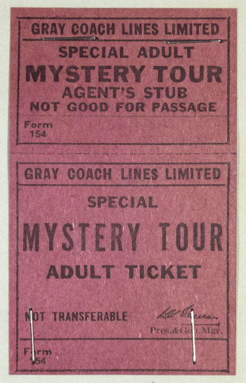 Pink paper bus ticket with black writing