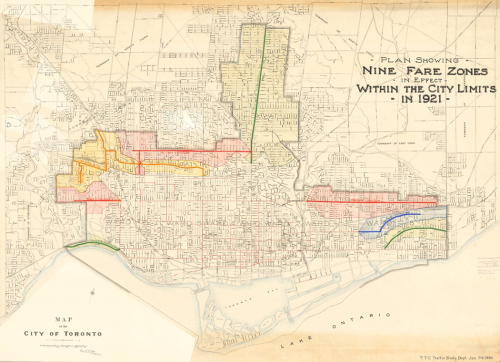 Map of Toronto with coloured sections north, east, and west to show the different fare zones. Downtown is uncoloured.