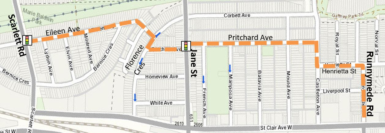 Proposed route from Scarlett Road on Eileen Ave to Florence Crescent (with a contra-flow bike lane), to Pritchard Avenue, Castleton Avenue and Henrietta Street, connecting to cycle tracks on Runnymede Road.