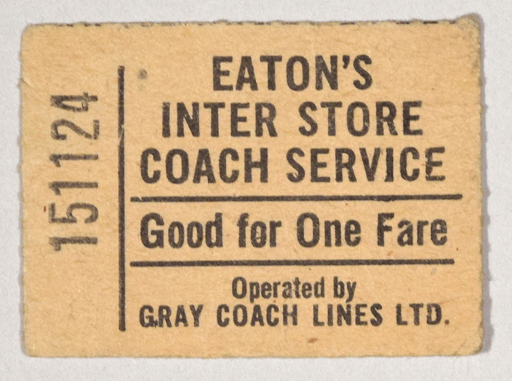 Ticket for Eaton's Inter Store Coach Service, Gray Coach Lines Limited
