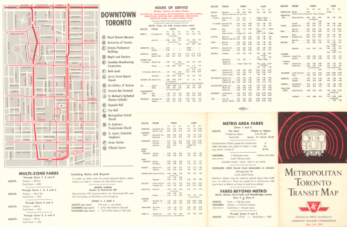 A map of the subway system and downtown streetcar routes, as well as fares and hours of service.