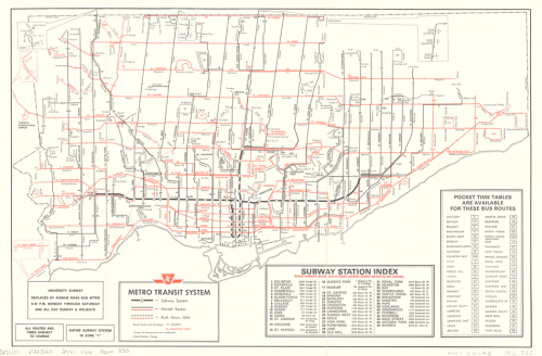 Map of Toronto showing all public transit routes, as well as an index to subway stations.