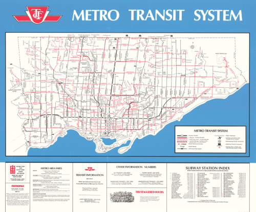 Map of Toronto showing all public transit routes, as well as fares and a subway station index.