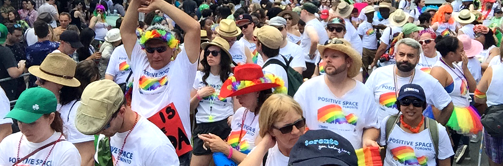 Large group of TPS employees at Pride Parade