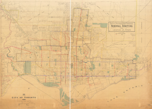 Map of Toronto with different coloured lines showing bus and streetcar routes, and dots showing where stops are.
