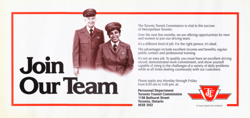 Placard with male and female TTC operators beside an advertisement to apply to the TTC team of drivers.
