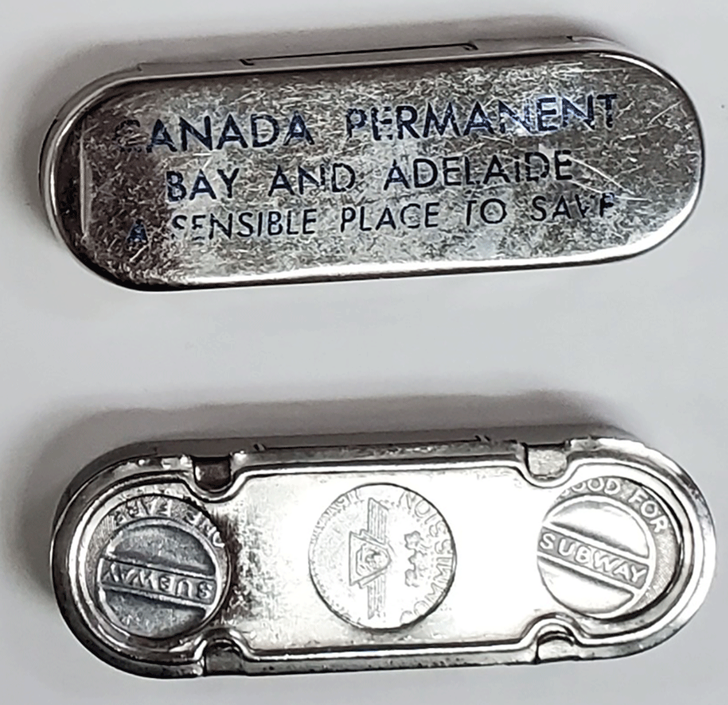 Silver metal token holder with blue printing on front and back view with TTC tokens inside