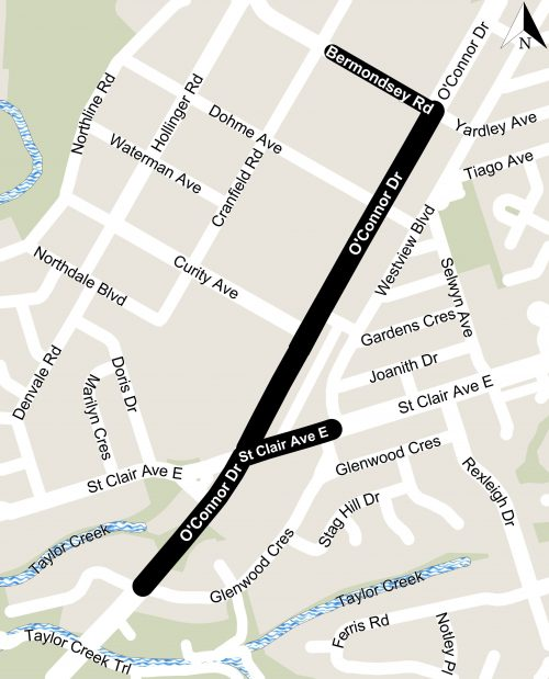 Map of O'Connor Drive, from Glenwood Crescent to Bermondsey Road
