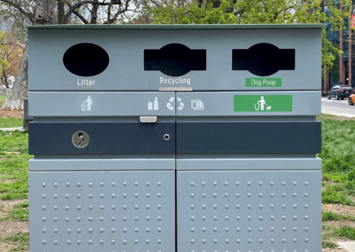 Street litter bin with dog waste compartment