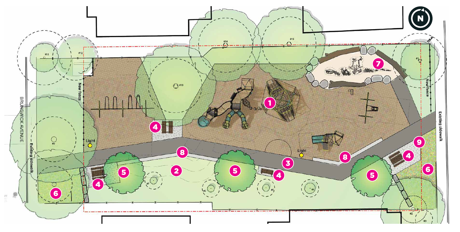 Rendering of the playground upgrades, as described following the image.