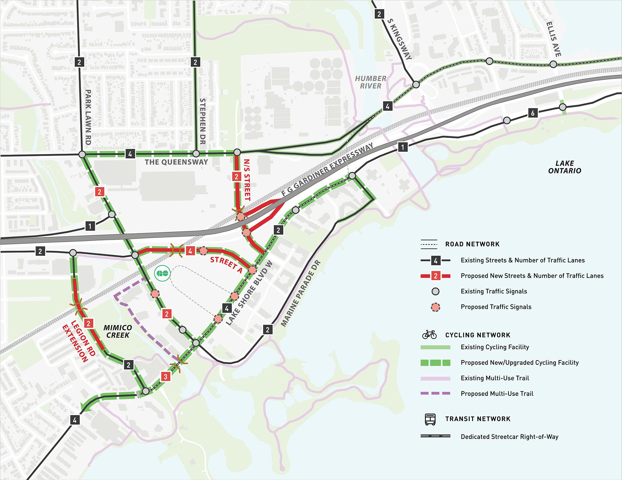 Park Lawn Lake Shore Transportation Master Plan Network Alternative 4B Neighbourhood Main Streets with 4-lane Lake Shore