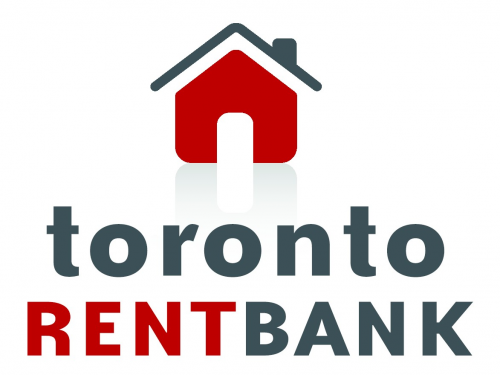 Toronto rent bank logo - icon of a red and grey house.