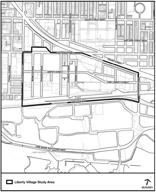 A map of the Liberty Village Public Realm and Community Services Study area, bounded by Gardiner Express Way, Dufferin Street, King Street West, and Strachan Avenue