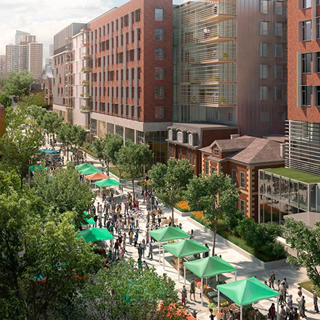 Rendering of pedestrian-only street with people attending a farmers' market.