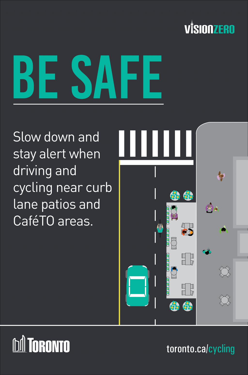 Be Safe. Slow down and stay alert when driving and cycling near curb lane patios and CafeTo areas.